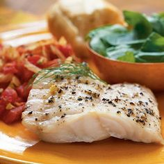 Use a broiler pan for both components of this recipe. The fennel-tomato mixture cooks in the bottom of the pan, helping to steam the fish...