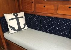 View Our Best Boat Bedding Package Examples & Fabric Choices White Pillows, Bed Pillows, Boat Bed, Boat Upholstery, Best Boats, Boat Interior, Blue Back, Duvet, Bedding