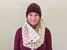 Chunky Knit Flecked Beanie in Ivory, Maroon, & Orange — annelise Hand Knitting, Knitting Patterns, Crochet Patterns, Virginia Tech, Knitting Accessories, Keep Warm, Knitted Hats, Knit Crochet, Winter Hats