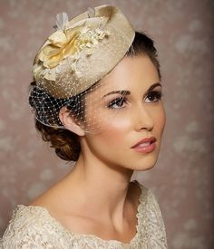 Ivory Cream Champagne Headpiece, Bridal Hat, Bridal Hair Accessories…