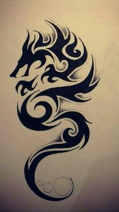 Wonderful Tribal Dragon Tattoo Design Tattoos And Body Art tribal dragon tattoo Neotraditional Tattoo, Tattoo Dotwork, Hawaiianisches Tattoo, Irezumi Tattoos, Tattoo Drawings, Samoan Tattoo, Polynesian Tattoos, Tribal Drawings, Tribal Scorpion Tattoo