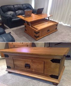 A Simple Coffee Table Got an Amazing Lift Top Upgrade