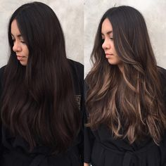 Ideas Natural Makeup For Brown Eyes Latina Hair Colors Black Hair With Highlights, Hair Color For Black Hair, Brown Hair Colors, Hair Highlights, Caramel Highlights, Brown Hair Balayage, Hair Color Balayage, Light Brown Hair, Dark Hair