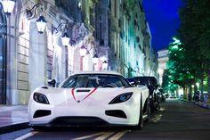 Beautiful white #Koenigsegg #Agera R front angle. #cars #night #beautiful