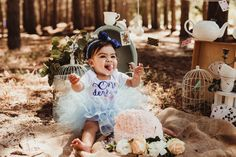 Alice in Onederland theme was so much fun to place and create, on the day of the cake smash shoot the weather was amazing and the forest never looked more beautiful. We set up the décor and once the family arrived we were all ready. We took some fun family pictures with the family all dressed in the theme and then it was cake smash time and of course, big brother had to help a little bit with eating the cake. Cake Smash Photos, Family Pictures, Some Fun, Photo Shoot, Brother, Alice, Create, Big, Celebrities
