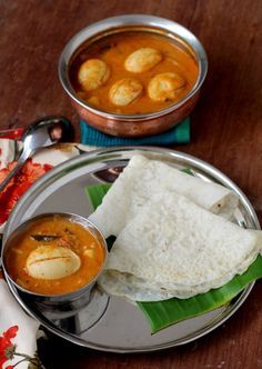 mangalore egg curry, goes well with neer dosa - sailu's kitchen Egg Recipes Indian, Goan Recipes, Indian Dishes, Veg Recipes, Curry Recipes, Vegetarian Recipes, Cooking Recipes, Ethnic Recipes, Recipies