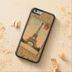 Vintage Paris Eiffeltower Faux Gold Floral Pattern Carved® Maple iPhone 6 Bumper
