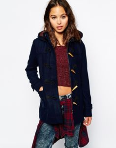 $124, Navy Duffle Coat: Only Duffle Coat. Sold by Asos. Click for more info: https://lookastic.com/women/shop_items/161961/redirect