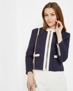Bow detail cropped jacket - Dark Blue | Suits | Ted Baker