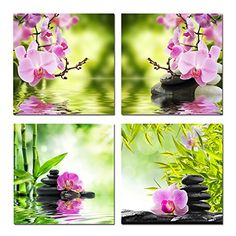 Hello Artwork - Nature Butterfly Orchid Flower and Zen Stones Painting Wall Art Bamboo Picture Print on Canvas Modern Art for Wall Decor and Home Decoration Wall Art 4pcs/set (12''x12''x4pcs)