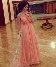Dress: pink prom peach sequins maxi elegant elegannt tumblr