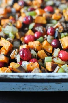 This has become a family favorite with our family! Sweet potato stuffing, YUM! (gf,df,ef,sf,nf)