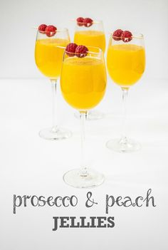 These stunning soft-set Prosecco & Peach jellies make an elegant dinner party dessert, or picnic food in plastic cups. Vegetarian & vegan.