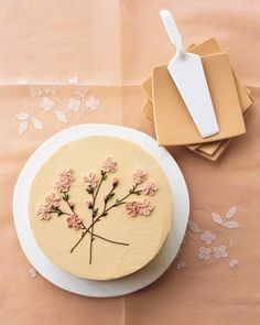 This beautiful cake is an ode to spring, with piped buttercream icing showing the loveliness of a cherry tree coming into bloom. Pretty Birthday Cakes, Pretty Cakes, Cake Birthday, Pastel Cakes, Pink Cakes, Simple Cake Designs, Simple Cakes, Cherry Blossom Cake, Cherry Blossoms