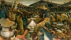 From Maya Angelou's arts collection: John Biggers, Kumasi Market, (1962). Estimate $100,000 to $150,000.