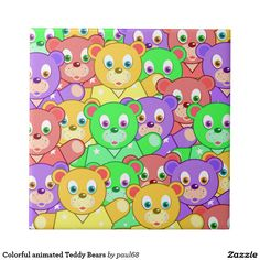 Colorful animated Teddy Bears Ceramic Tile