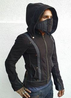 Yo Deba- Men and women's hooded masked jackets, cosplay jacket, burningman fashion, festival jackets Burning Man Fashion, Burning Man Outfits, Apocalypse Fashion, Zombie Apocalypse, Gothic Fashion, Mens Fashion, Steampunk Fashion, Psytrance Clothing, Gothic Jackets