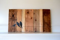 Reclaimed wood art sign: Three bird family on wire silhouette on multi-stained wood canvas on Etsy, $131.81 AUD