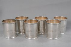 Hart & Smith rare set of six silver cups, each with molded top over beaded band on molded base, having belonged to Naval Captain Anthony Walke and monogrammed ASW, Baltimore, MD circa 1815. Anthony Walke (b. September 13, 1783 – d. March 19, 1865). Walke was the son of William and Mary Thoroughgood (Calvert) Walke. Anthony was married to Susan H. Carmichael, of Princess Anne County. Anthony was educated at Yale College with John C. Calhoun, James Fenimore Cooper (the novelist), Judge William…