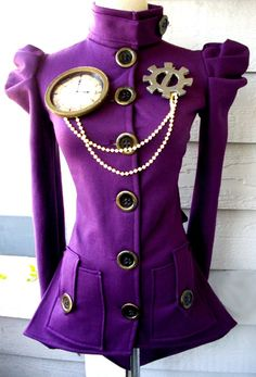 Purple Urban Victorian jacket by Steampunk Couture Steampunk Couture, Steampunk Jacket, Mode Steampunk, Steampunk Cosplay, Victorian Steampunk, Steampunk Clothing, Steampunk Fashion, Purple Love, Shades Of Purple