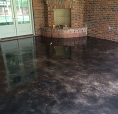 New concrete stain colors good option basement for Black stains on concrete
