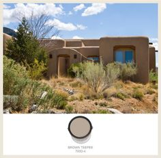 The design style of Southwestern adobe homes calls for muted brown-oranges and turquoise blue. See the BEHR paints that match here on Colorfully BEHR. Mexican Hacienda, Hacienda Style, Mexican Style, Southwestern Home, Southwest Decor, New Mexico Style, Adobe House, House Front, Exterior Paint
