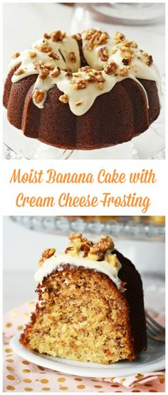 Moistest Banana Cake Ever! This cake uses no sour cream but comes together nicely with Greek yogurt! Frosting is made with fresh cream cheese, and features no butter.