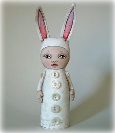 Easter Bunny Rabbit-- Hand Painted Original-- Contemporary Folk Art Cloth Doll Sculpture