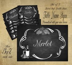 Printable Wedding Table Name Signs for your Vineyard or Winery Wedding - Chalkboard DIY Style on Etsy, $30.00