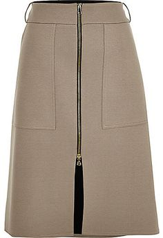 River Island Womens Grey zip-up A-line split front skirt