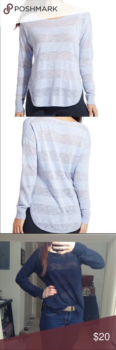 Athleta, Navy long sleeve sweater Stripped navy long sleeve sweater. Shorter in the front, long in the back with small slits on the sides. Very flattering and comfortable! 56% linen 44% cotton. Slightly worn, but good condition Athleta Sweaters Crew & Scoop Necks