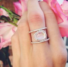 14kt rose gold and diamond Double Band Moonstone ring – Luna Skye by Samantha Conn