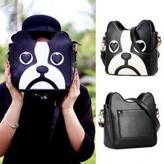 Women's Fashion Cute Dog Shape Cartoon Messenger Bag One Shoulder Bag Handbag