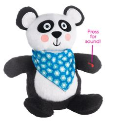 """A nursery must-have! Panda helps soothe baby with four different calming sounds. Uses three AAA batteries (not included). 8 1/2"""" H x 7"""" W. Polyester and man-made electronics. Imported."""