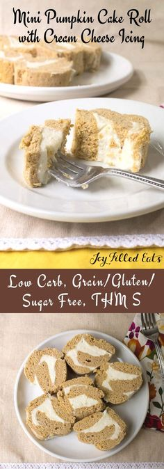 Mini Pumpkin Cake Roll with Cream Cheese Icing - Low Carb, Grain Gluten Sugar Free, THM S, Microwave & Oven Option, Fast, Easy