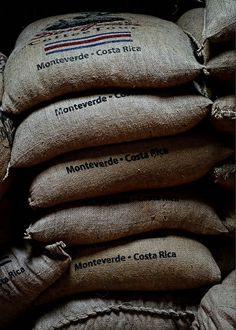 Bags of Beans © Pat Harry - Coffee beans at the Don Juan Coffee Plantation in Costa Rica