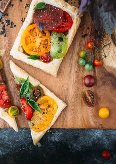 Tomato Basil Tarts with White Bean Puree