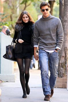 love the casual ensemble of johannes huebl with GF style icon olivia palermo