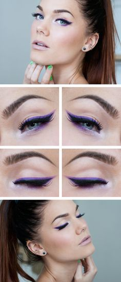 Fun bright purple winged eyeshadow with black winger liner, and light cool nude lips.