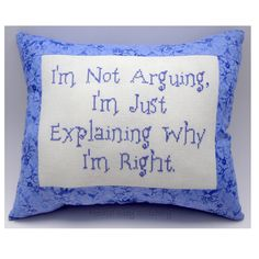 Funny Cross Stitch Pillow Funny Quote Purple Pillow by NeedleNosey, $20.00