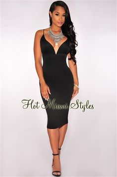 Black Plunging V Neck Halter Lace-Up Midi Dress. www.hotmiamistyles.com. Club  Dresses 5e309c4f378d