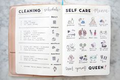 Cleaning Schedule & Self Care Routine Ideas: BUJO Spread Layout | ETSY Spring Bullet Journal Ideas & Accessories | Miss Louie