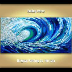 Original large modern impasto landscape painting sea art Rolling Wave