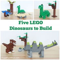 Five LEGO Dinosaurs to Build – Frugal Fun For Boys and Girls - Kinderspiele Lego Duplo, Lego Activities, Craft Activities For Kids, Crafts For Kids, Lego Design, Dino Lego, Lego Challenge, Lego Club, Lego Craft
