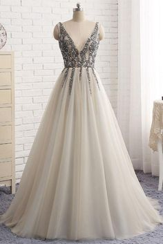 Sexy Deep V-neck Bling Sleeveless Tulle Prom Dress with Sequins,Formal Dresses,N419