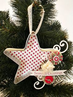 cookie cutter ornament - like the idea of backing with paper to make it more visible on the tree