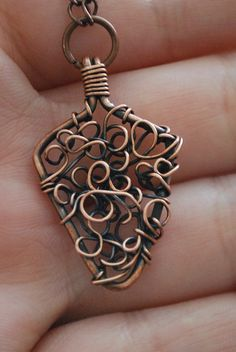 Copper Wire Wrapped Arrowhead shaped Pendant