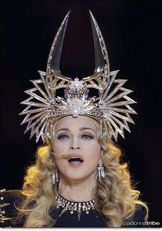 Madonna in a Philip Treacy headpiece for the stage