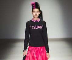 Call Me Sibling sweater London | #SIBLINGLONDON  is trend. A round neck sweater and slim fit in black color makes it very clear what you want, Call Me. An original design Sibling London fashion brand that can get us into some other trouble but the intention is that we wanted to incorporate it into our look. #woman #mens #home #fashion #style