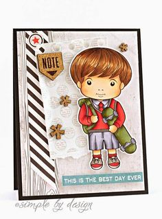 From our Design Team! Card by Joy Taylor featuring Back to School Luka and Binding Border Die :-) Shop for our products here - http://shop.lalalandcrafts.com/ Coloring details and more Design Team inspiration here - http://lalalandcrafts.blogspot.ie/2014/08/inspiration-monday-back-to-school.html